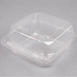 """6"""" x 6"""" x 3"""" Clear Hinged Lid Plastic Takeout To Go Box Con"""