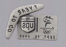2000 UPS Sydney Olympic 1 Year To Go Pewter Pin Boomerang