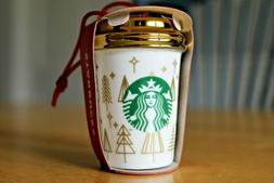 2018 STARBUCKS GOLD TREE TO GO CUP ORNAMENT EUROPE RELEASE *
