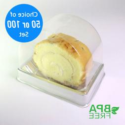 50/100 Arched Single-Serving To-Go Boxes Roll Cakes Dessert
