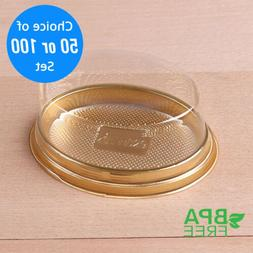 50/100 Gold Base Oval To-Go Platter Cake Bread Container w/