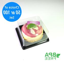 50/100 Square BPA-Free Clear Plastic Black Base Cake To Go C