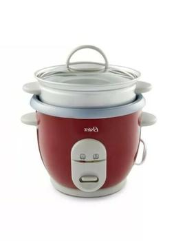 Oster 6-Cup Rice Cooker with Steamer, Red  6 Cup Brand New