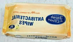 """80ct LARGE Antibacterial Wipes Lemon Scent To Go Pack 5.5""""x7"""