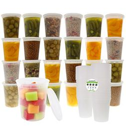 Freshware 24-Pack 32 oz Plastic Food Storage Containers with