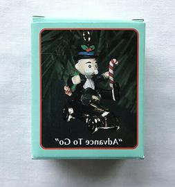 Advance to Go ~ Mr. Monopoly, Gold Car ~ Enesco Miniature Or