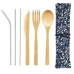 Bamboo Cutlery Set with 8.5 inch Stainless Steel Metal Straw