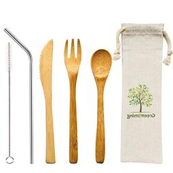 Natural Bamboo Cutlery - Washable Reusbale Utensils Set of 4
