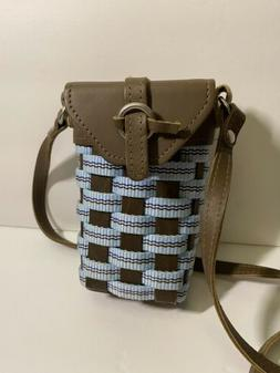 Longaberger Blue & Brown To Go Small Purse Buckle Bag Crossb
