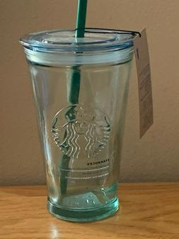 BRAND NEW 16 OZ STARBUCKS RECYCLED GLASS COLD TO GO CUP & ST