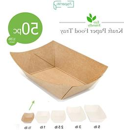 Brown Kraft Paper Food Tray, Capacity of 1/2lb, Eco-friendly