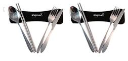 4 Piece Stainless Steel Utensil Set To Go  Travel / Camping