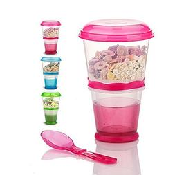 Cereal On the Go Cups Breakfast Drink Cups Portable Yogurt a