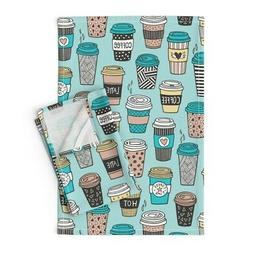 Coffee Cups To Go Latte Cafe Food Linen Cotton Tea Towels by