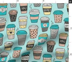 Coffee Cups To Go Latte Cafe Food Kitchen Tea Fabric Printed