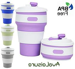 Avaleisure COLLAPSIBLE CUP, a Reusable, 12 oz., BPA-Free Sil