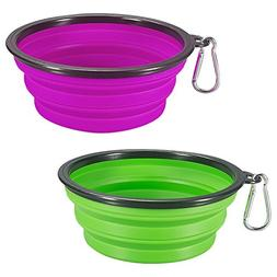 COMSUN Collapsible Dog Bowl, 2-Pack Foldable Expandable Cup