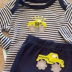 DARLING! NEW BABY CARTER'S PREEMIE 2PC READY TO GO MONSTER T