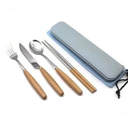 Fork Spoon Knife Chopsticks Set, Rerii Stainless Steel & Woo