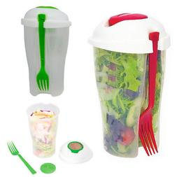 Fresh Salad Cup to Go Container Serving Shaker Dressing Stor