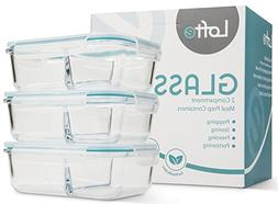 Glass Meal Prep Containers, Set of 3 - Meal Portion Control