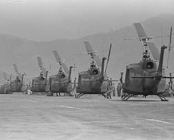 """Huey Helicopters waiting to go into action 8""""x 10"""" Vietnam W"""