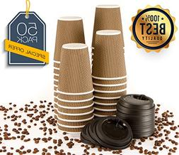 MyHomeIdeas Hot Insulated Paper Cups with Lids For Coffee Te