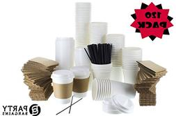 {120 COUNT} JUMBO Pack White Coffee Cups | Insulated Disposa
