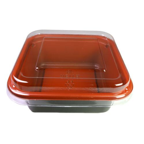 50/100 Black&Red To-Go Ice Container Box w/ Lid