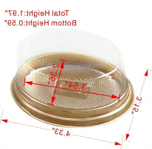 50/100 Gold Base Oval To-Go Cake Container Clear DD