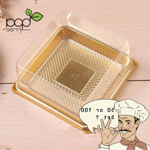 50/100 Square BPA-Free Clear Plastic Gold Base Cake To Go Co
