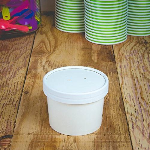 8 Ounce Containers With Lids - Durable Vented Paper Storage