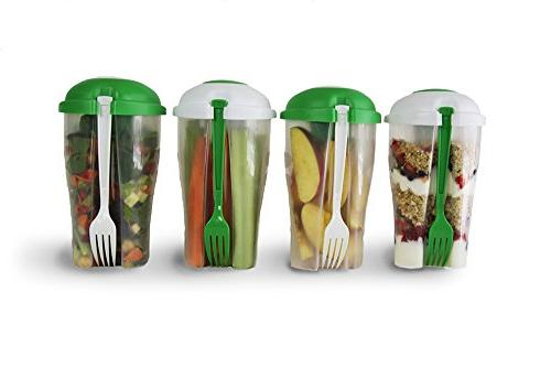 Portable Salad Container 2 Pack For Lunch To Go Includes Pla
