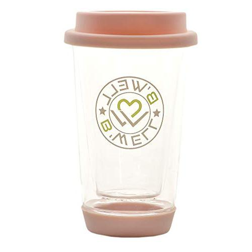 B'WELL 12 Glass Travel Reusable Cup To Coffee - & Base Cold Drinks & Safe