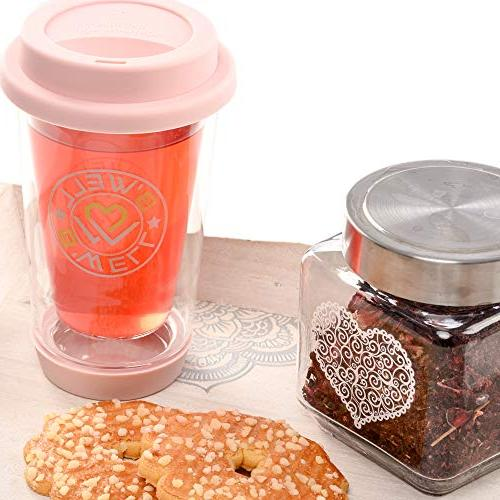 B'WELL 12 Glass Travel Reusable To Base Mug Hot & Cold & -