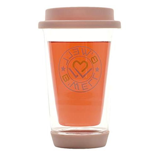 B'WELL Glass Travel Mug - Reusable Coffee To Go - Silicone Base - Tea Mug - & Cold - & Microwave