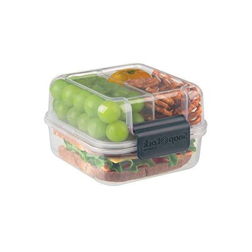 SnapLock Cube Container Gray, Easy-To-Open, Seal, BPA