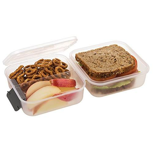 SnapLock by Lunch Cube Gray, SNL-1005B Easy-To-Open, Seal, Lid, Stackable, BPA