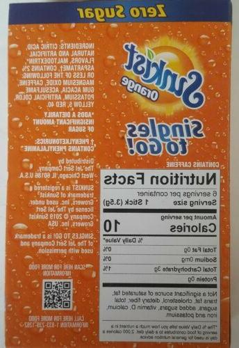 Sunkist Singles Go Zero Sugar 10 Boxes-60 Packets Total