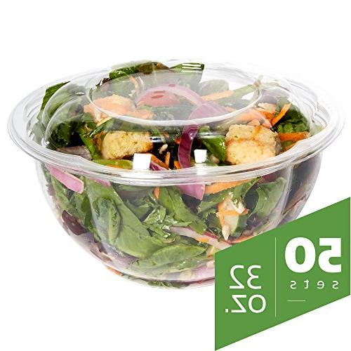 ba53866f63e9 Salad Bowls to go with Lids - Clear Plastic Disposable Salad Containers |  Fresh, Airtight Seal | Rose Bowl Container
