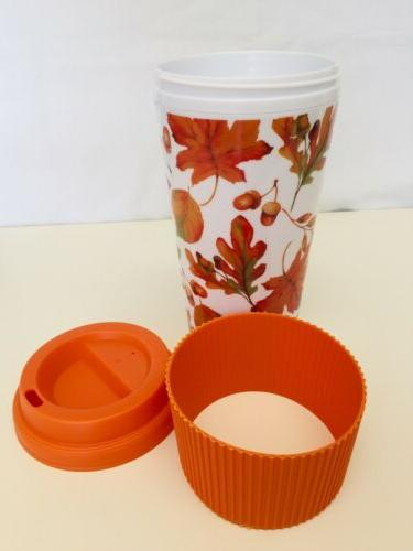 "TRAVEL TO MUG REUSABLE ""FALL LEAVES"" NEW"