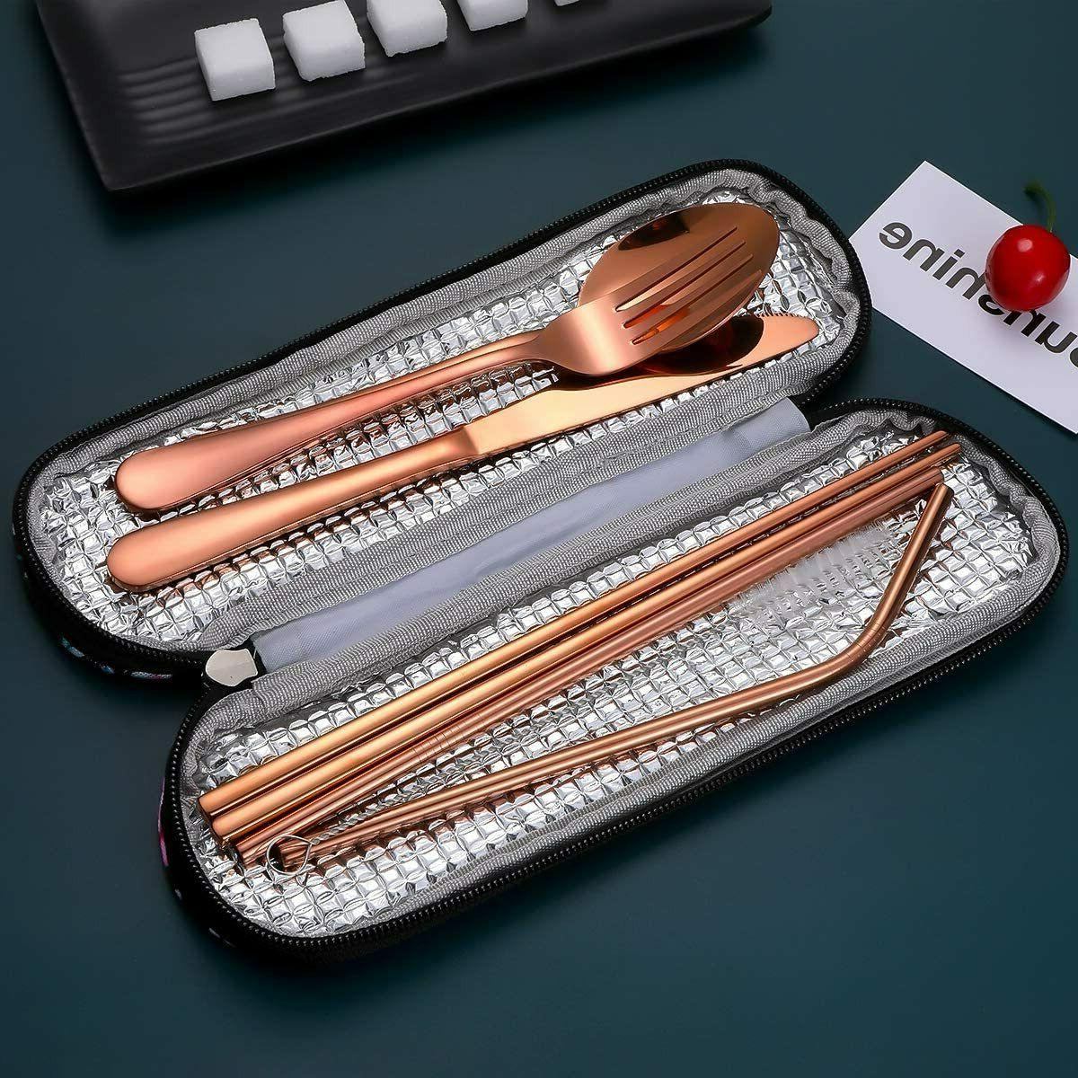 Travel Utensils,Reusable Silverware Set To Set with Waterp