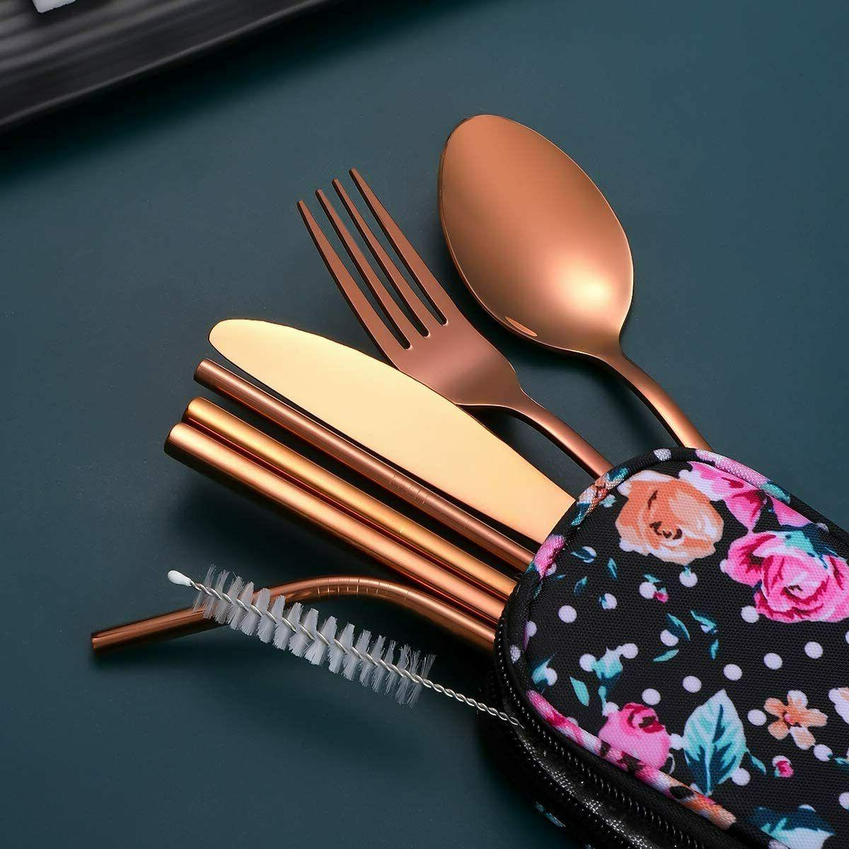 Travel Utensils,Reusable Set To Cutlery Set with a