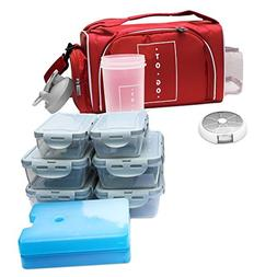 Meal Prep Bag By TO GO Insulated Lunch Meals Bag W/6 Portion