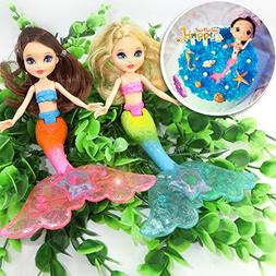 2-Piece Mermaid Doll Toy for Girls or Cake Decoration,Swim i