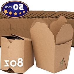 Microwavable Brown Chinese 8 oz Mini Take Out Boxes. 50 Pack