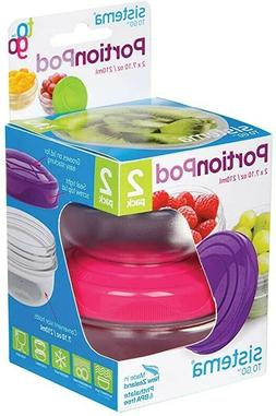 NEW SISTEMA to go Portion pod 210ml 2 pack pink and purple
