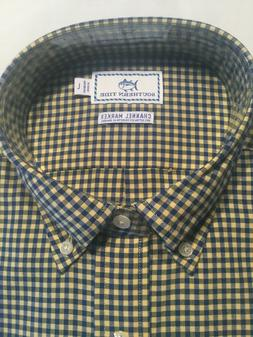 NWT MENS SOUTHERN TIDE Channel Marker LS BD Navy/Yellow Ging