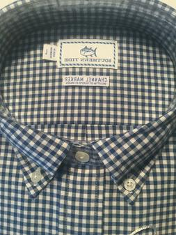 NWT MENS SOUTHERN TIDE Channel Marker LS BD Navy Gingham Siz