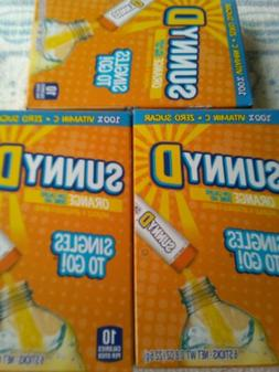 Orange Sunny D Singles to go Drink Mix 3 BOXES - SUGAR FREE